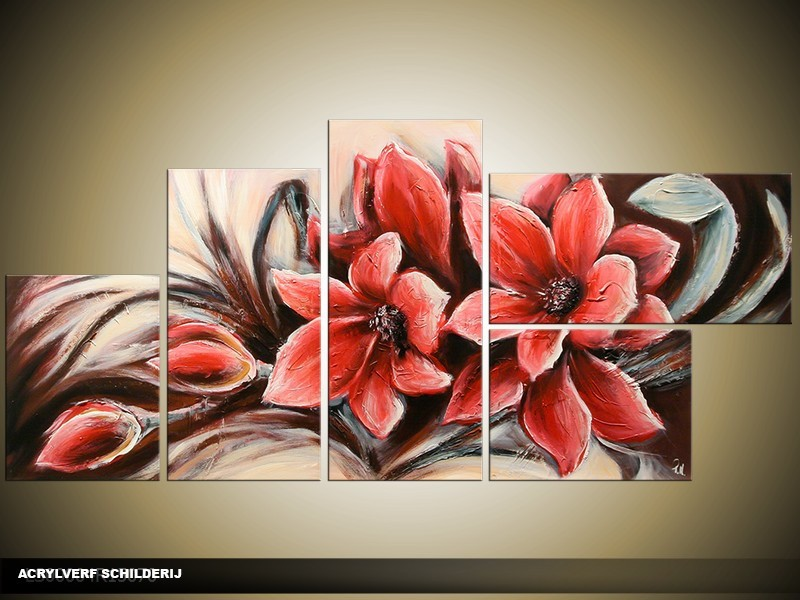 Acryl Schilderij Magnolia | Rood, Crème | 150x70cm 5Luik Handgeschilderd