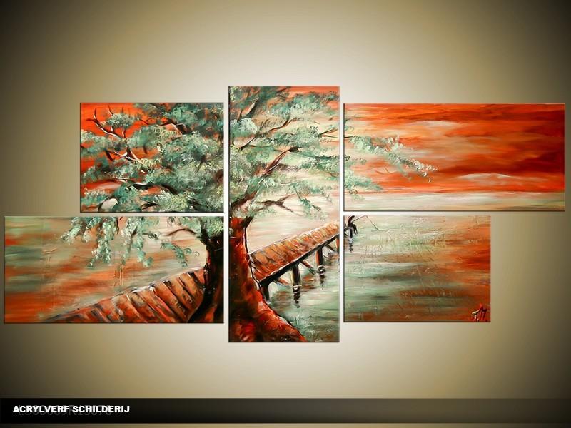 Acryl Schilderij Boom | Groen, Rood | 150x70cm 5Luik Handgeschilderd