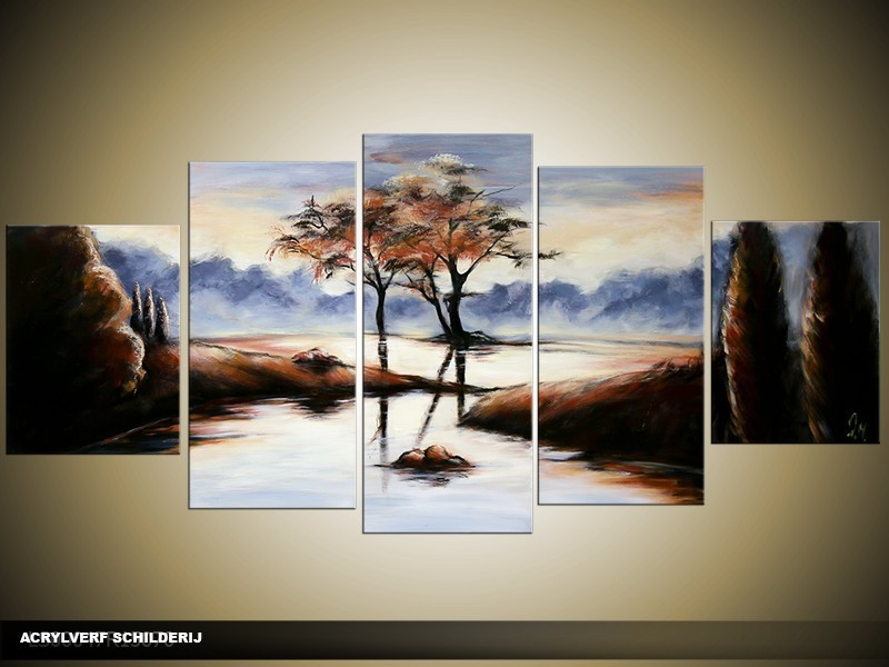 Acryl Schilderij Natuur | Blauw, Zwart | 150x70cm 5Luik Handgeschilderd