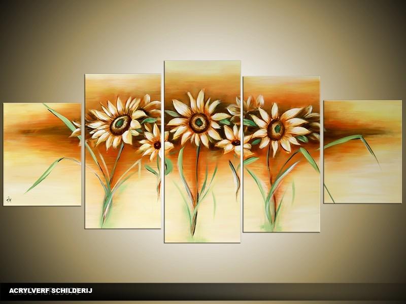 Acryl Schilderij Zonnebloem | Crème, Geel, Groen | 150x70cm 5Luik Handgeschilderd