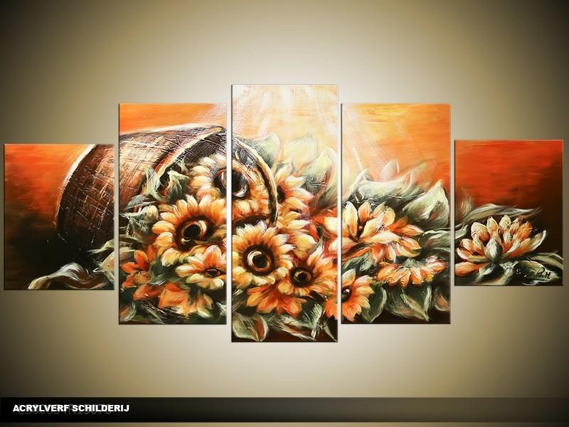 Acryl Schilderij Zonnebloem | Oranje, Bruin | 150x70cm 5Luik Handgeschilderd