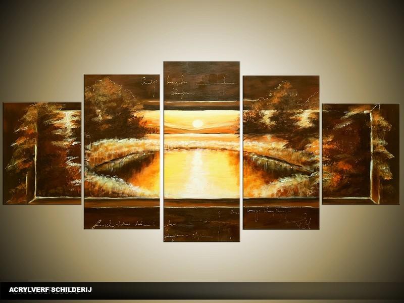 Acryl Schilderij Zonsondergang | Bruin, Geel | 150x70cm 5Luik Handgeschilderd