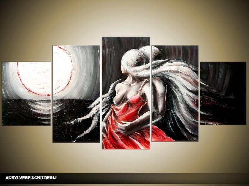 Acryl Schilderij Modern | Zwart, Rood, Grijs | 150x70cm 5Luik Handgeschilderd