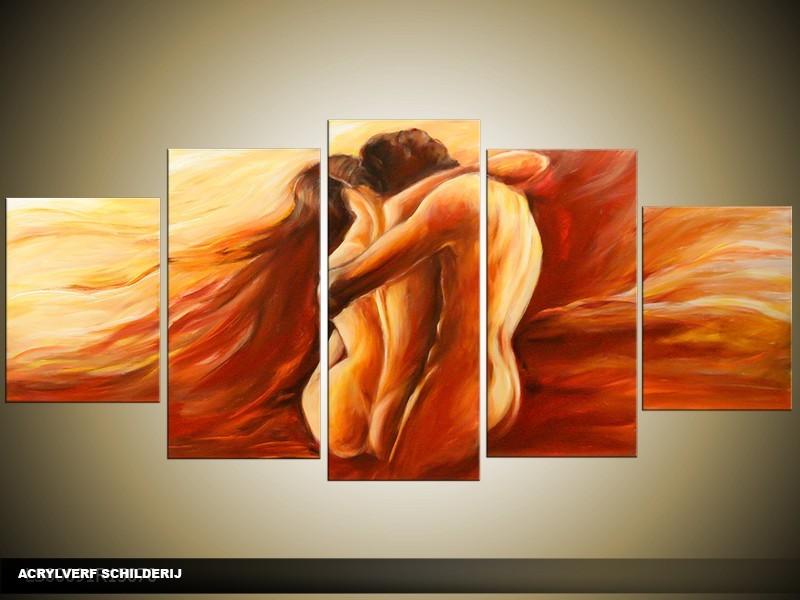 Acryl Schilderij Slaapkamer | Bruin, Rood | 150x70cm 5Luik Handgeschilderd
