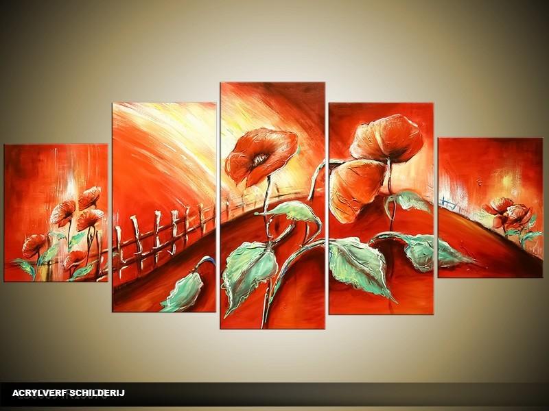 Acryl Schilderij Klaproos | Rood, Groen | 150x70cm 5Luik Handgeschilderd