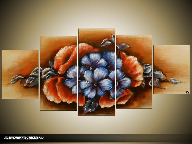 Acryl Schilderij Klassiek | Blauw, Bruin | 150x70cm 5Luik Handgeschilderd