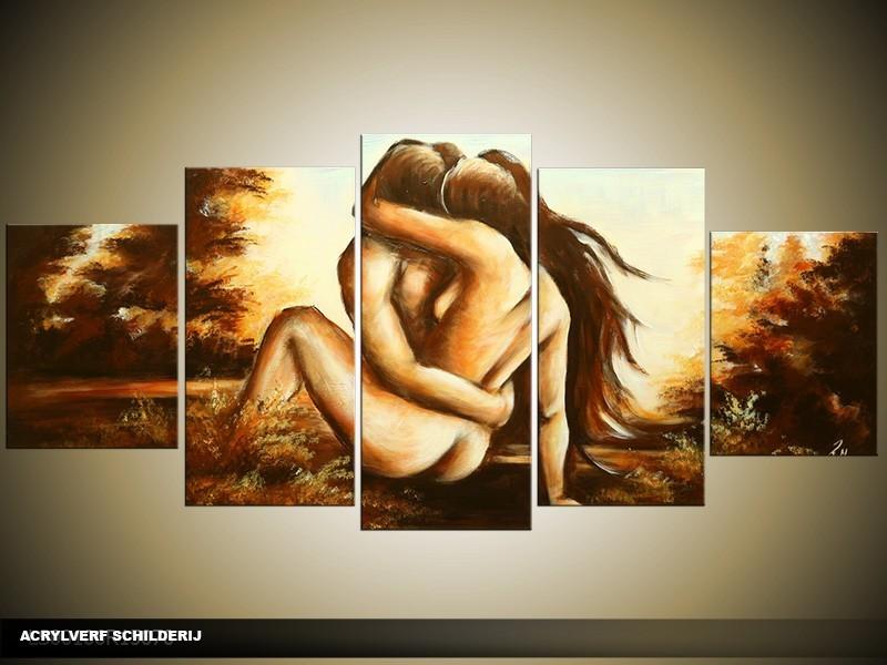 Acryl Schilderij Slaapkamer | Crème, Bruin | 150x70cm 5Luik Handgeschilderd