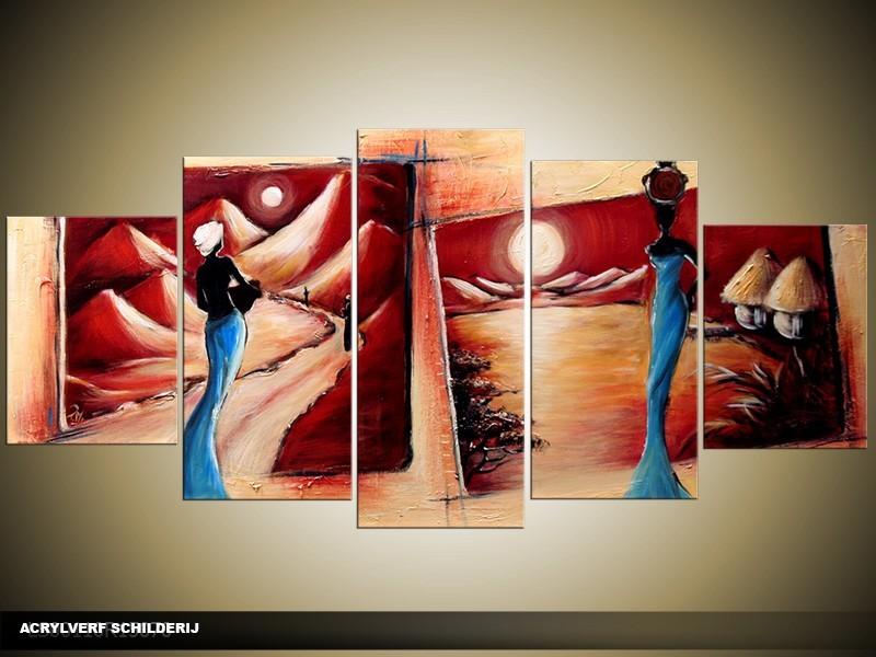 Acryl Schilderij Afrika | Rood, Blauw, Crème | 150x70cm 5Luik Handgeschilderd