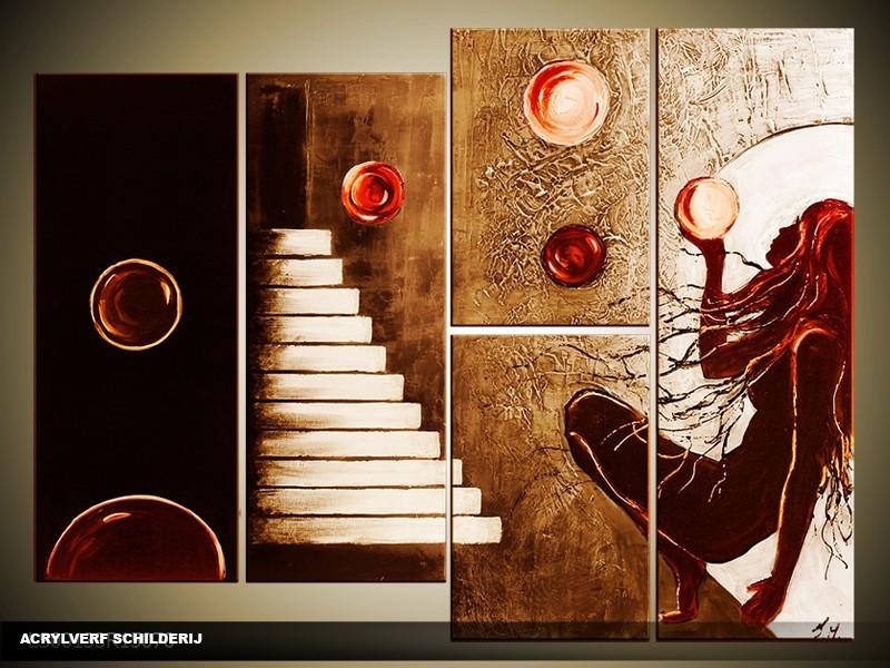 Acryl Schilderij Modern | Rood, Bruin | 120x80cm 5Luik Handgeschilderd