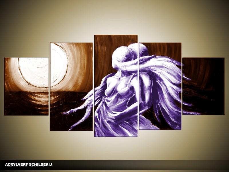 Acryl Schilderij Modern | Paars, Bruin | 150x70cm 5Luik Handgeschilderd