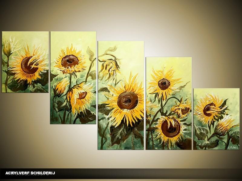 Acryl Schilderij Zonebloem | Geel, Groen | 150x70cm 5Luik Handgeschilderd