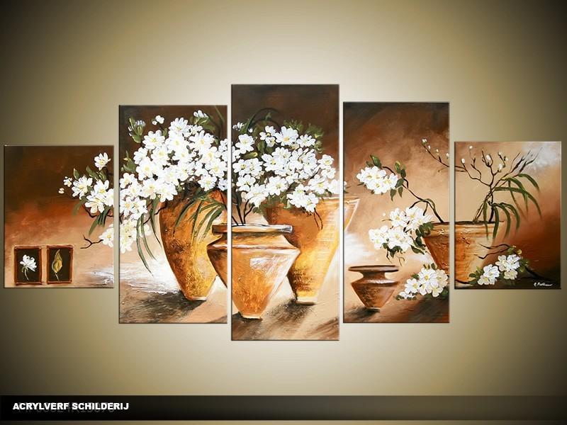 Acryl Schilderij Vaas | Bruin, Wit | 150x70cm 5Luik Handgeschilderd