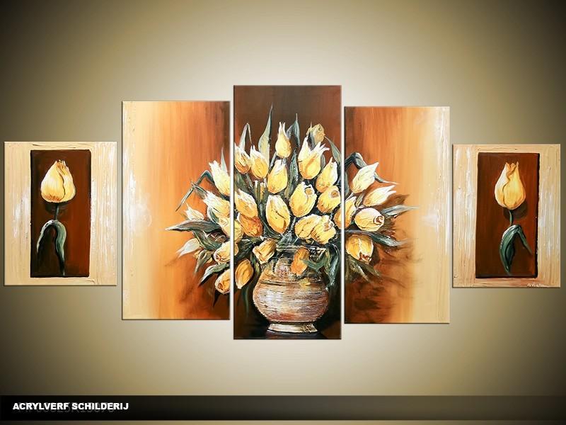 Acryl Schilderij Woonkamer | Bruin, Geel | 150x70cm 5Luik Handgeschilderd