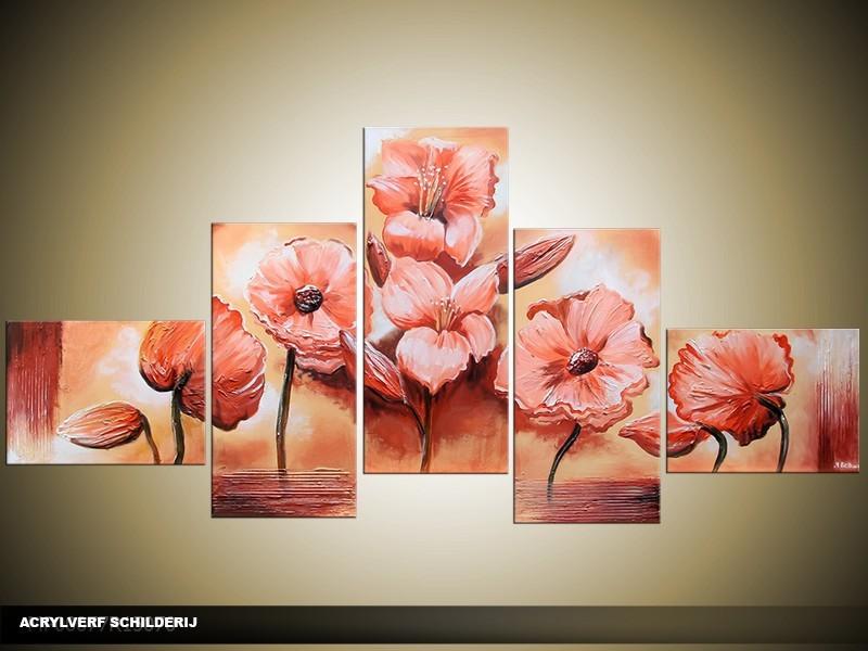 Acryl Schilderij Klaproos | Roze, Crème | 170x70cm 5Luik Handgeschilderd