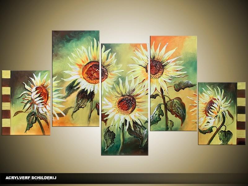 Acryl Schilderij Zonebloem | Groen, Geel | 150x70cm 5Luik Handgeschilderd