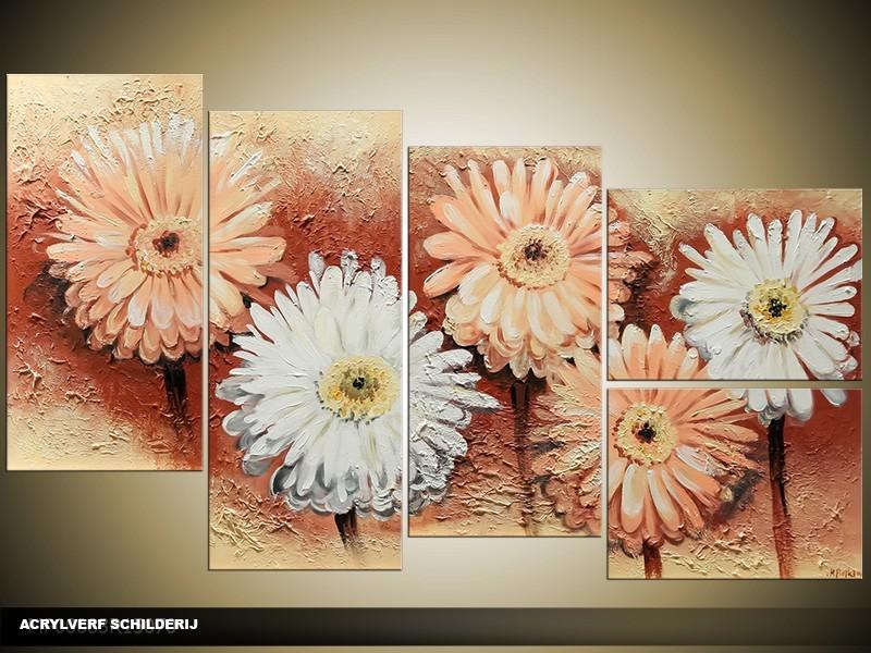 Acryl Schilderij Zonnebloem | Groen, Geel | 130x70cm 5Luik Handgeschilderd