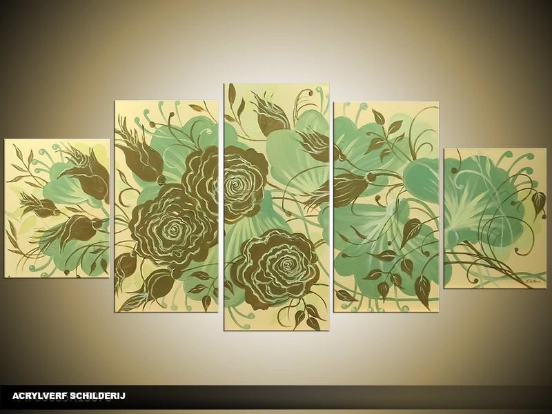 Acryl Schilderij Woonkamer | Groen, Crème | 150x70cm 5Luik Handgeschilderd