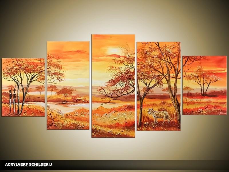 Acryl Schilderij Natuur | Bruin, Oranje | 150x70cm 5Luik Handgeschilderd