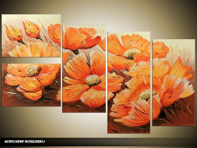 Acryl Schilderij Modern | Oranje, Crème | 130x70cm 5Luik Handgeschilderd