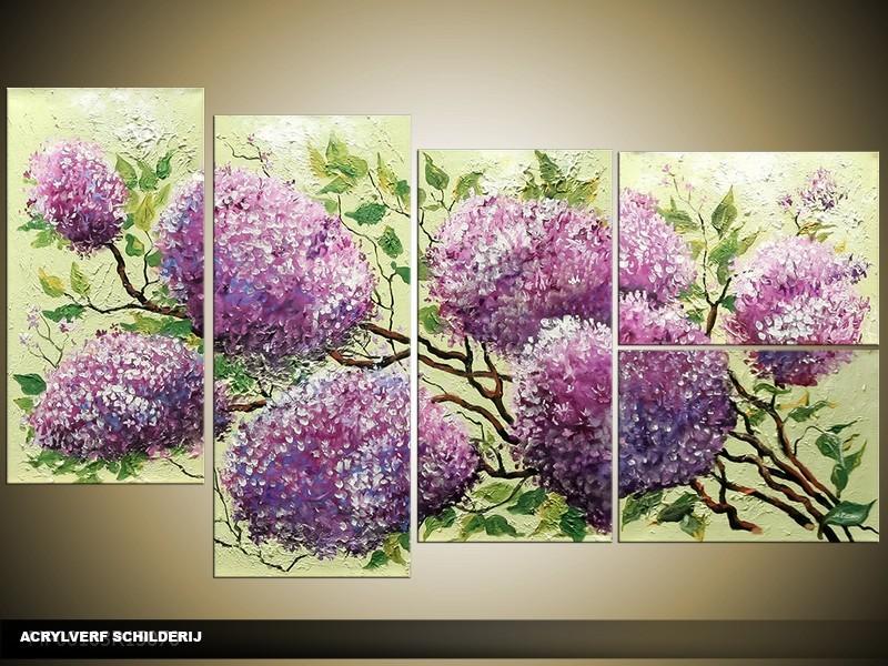 Acryl Schilderij Natuur | Paars, Groen | 130x70cm 5Luik Handgeschilderd
