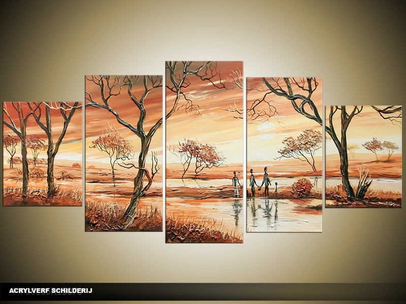 Acryl Schilderij Natuur | Bruin | 150x70cm 5Luik Handgeschilderd
