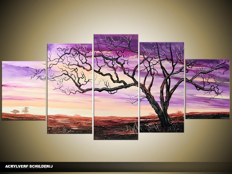 Acryl Schilderij Natuur | Paars | 150x70cm 5Luik Handgeschilderd