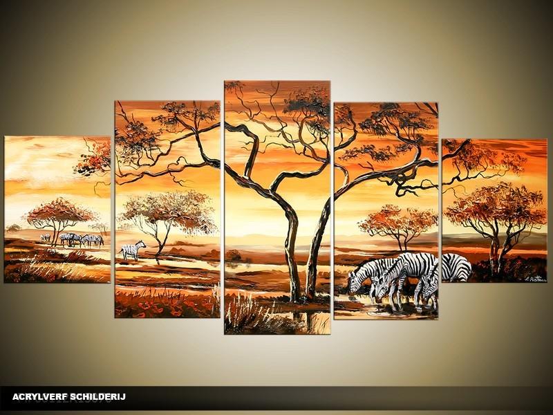 Acryl Schilderij Afrika | Oranje, Bruin, Geel | 150x70cm 5Luik Handgeschilderd