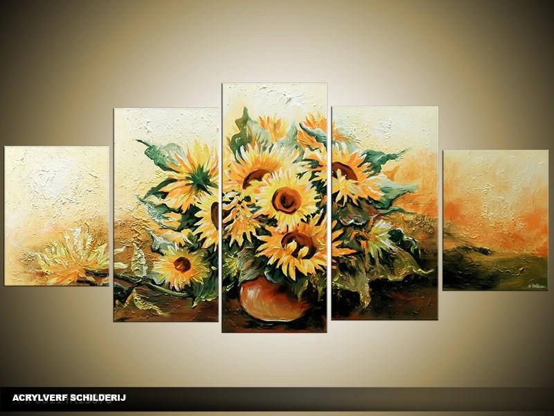Acryl Schilderij Zonebloem | Geel, Bruin | 150x70cm 5Luik Handgeschilderd
