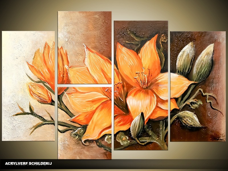 Acryl Schilderij Magnolia | Oranje, Bruin | 130x70cm 5Luik Handgeschilderd
