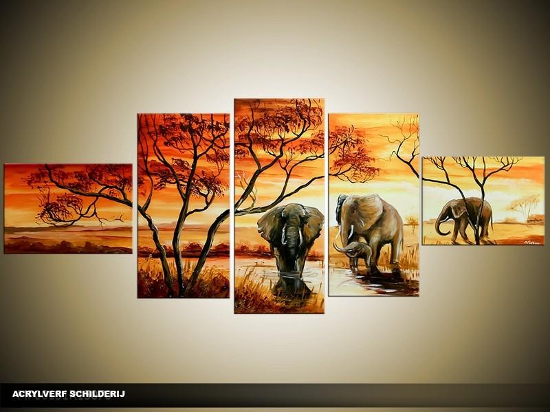 Acryl Schilderij Olifant | Bruin, Oranje, Crème | 170x70cm 5Luik Handgeschilderd