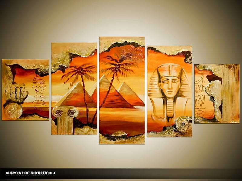 Acryl Schilderij Egypte | Oranje, Geel, Bruin | 150x70cm 5Luik Handgeschilderd