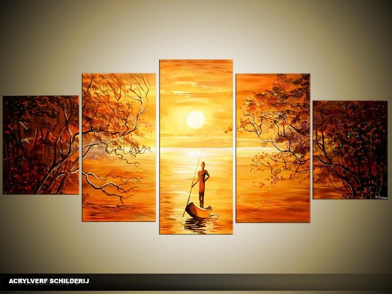 Acryl Schilderij Zonsondergang | Oranje, Geel, Bruin | 150x70cm 5Luik Handgeschilderd