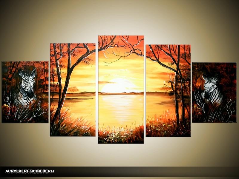 Acryl Schilderij Zonsondergang | Geel, Bruin | 150x70cm 5Luik Handgeschilderd