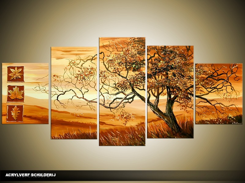 Acryl Schilderij Afrika | Bruin | 150x70cm 5Luik Handgeschilderd