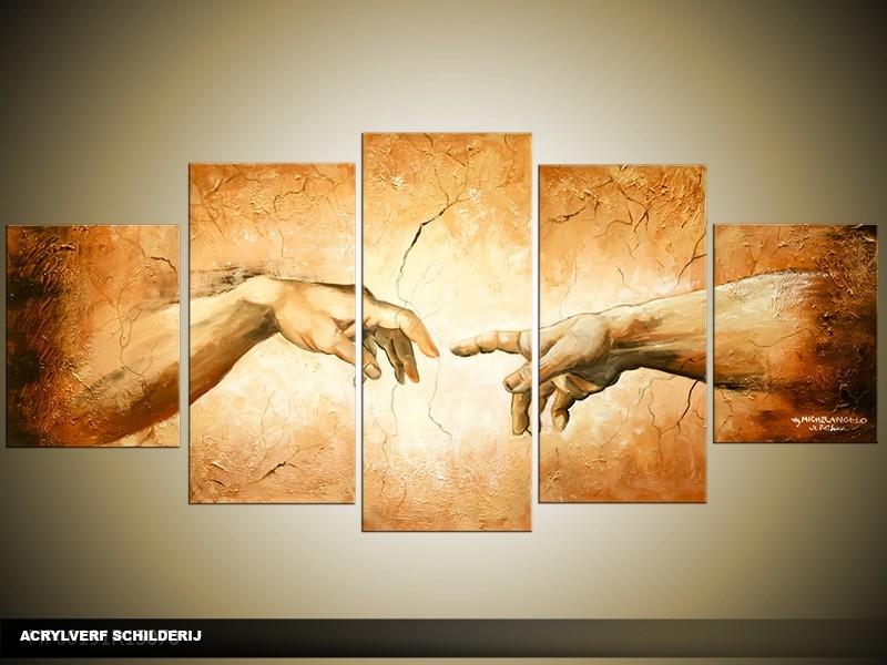Acryl Schilderij Klassiek | Bruin, Crème | 150x70cm 5Luik Handgeschilderd