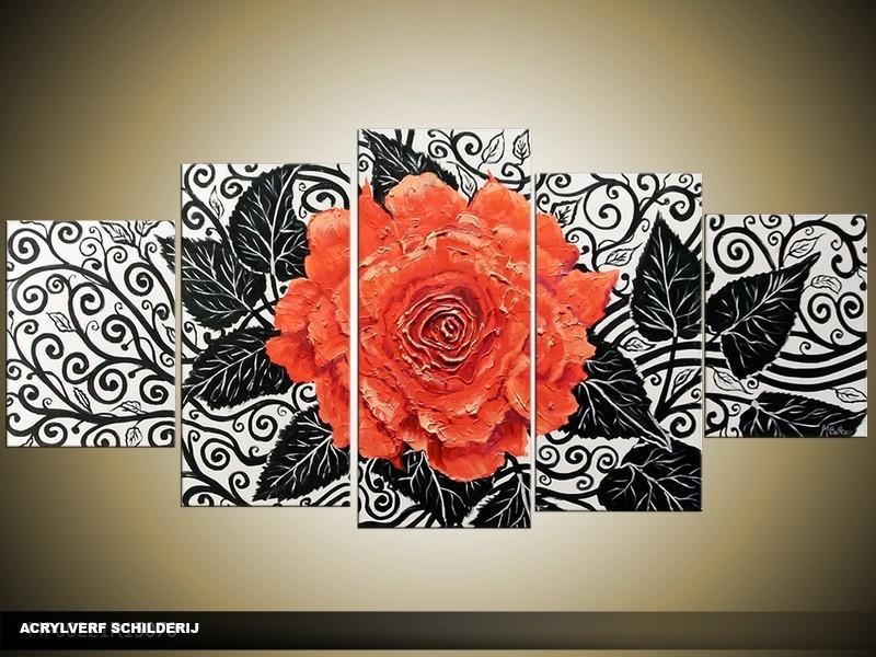 Acryl Schilderij Woonkamer | Rood, Zwart | 150x70cm 5Luik Handgeschilderd