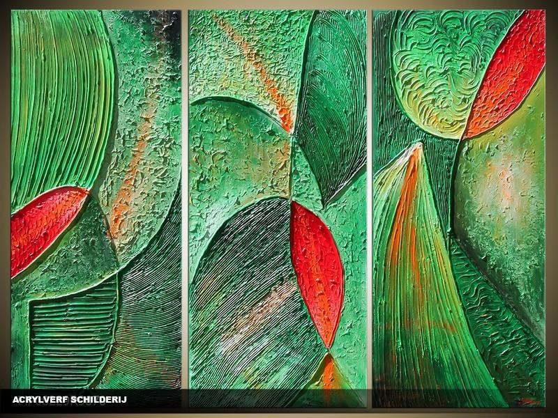 Acryl Schilderij Modern | Groen, Rood | 120x80cm 3Luik Handgeschilderd