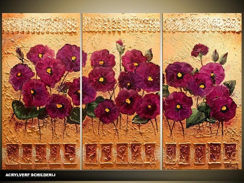 Acryl Schilderij Natuur | Bruin, Paars | 120x80cm 3Luik Handgeschilderd