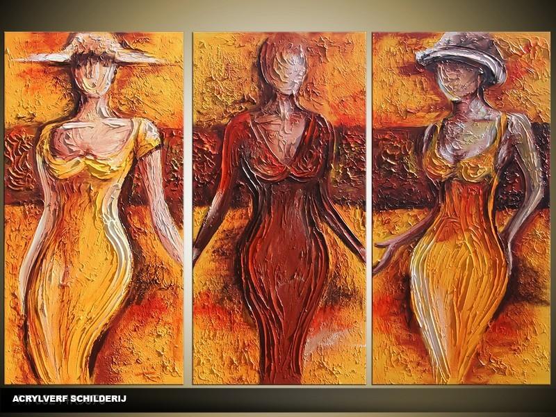 Acryl Schilderij Vrouw | Bruin, Oranje | 120x80cm 3Luik Handgeschilderd