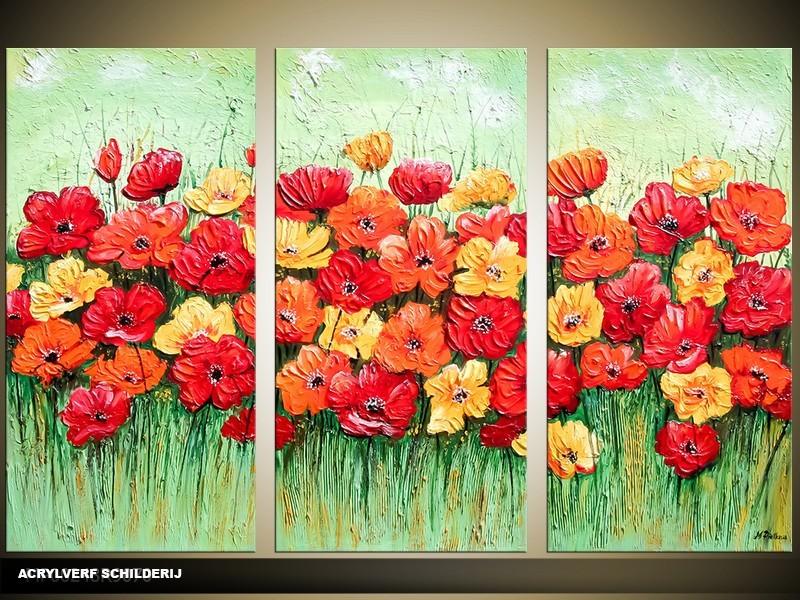 Acryl Schilderij Natuur | Rood, Groen | 120x80cm 3Luik Handgeschilderd
