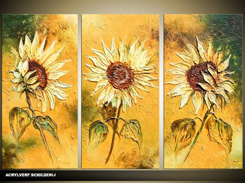 Acryl Schilderij Zonnebloem | Geel, Groen | 120x80cm 3Luik Handgeschilderd