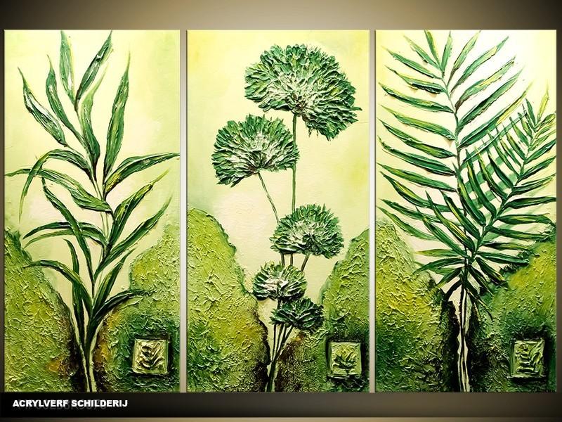 Acryl Schilderij Natuur | Groen | 120x80cm 3Luik Handgeschilderd