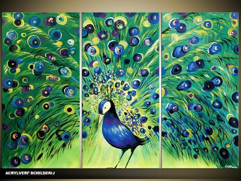 Acryl Schilderij Vogel | Groen, Blauw | 120x80cm 3Luik Handgeschilderd