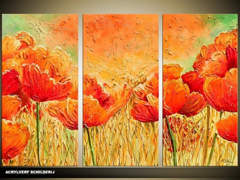 Acryl Schilderij Klaproos | Oranje, Bruin | 120x80cm 3Luik Handgeschilderd
