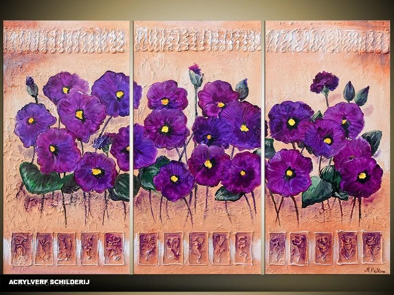 Acryl Schilderij Natuur | Paars, Bruin | 120x80cm 3Luik Handgeschilderd