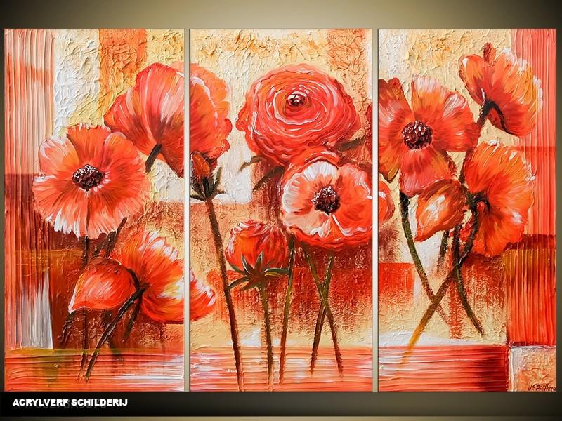 Acryl Schilderij Klaproos | Rood | 120x80cm 3Luik Handgeschilderd