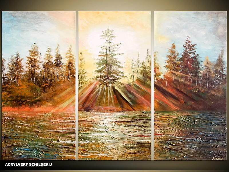 Acryl Schilderij Natuur | Bruin, Groen | 120x80cm 3Luik Handgeschilderd