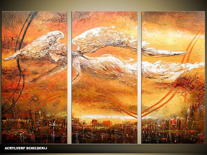 Acryl Schilderij Natuur | Bruin, Geel | 120x80cm 3Luik Handgeschilderd