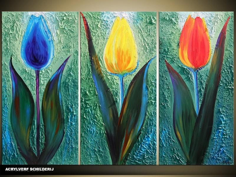 Acryl Schilderij Tulp | Groen, Blauw, Oranje | 120x80cm 3Luik Handgeschilderd