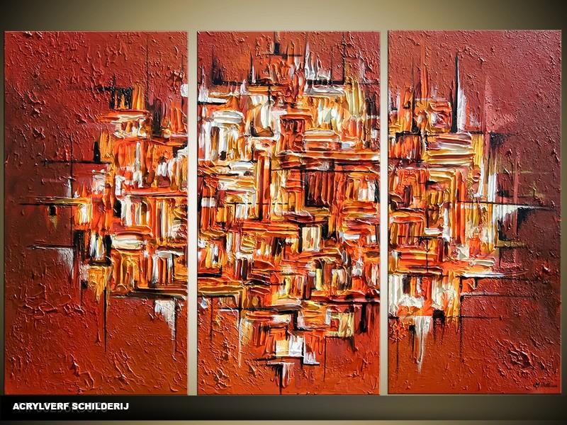 Acryl Schilderij Modern | Bruin | 120x80cm 3Luik Handgeschilderd
